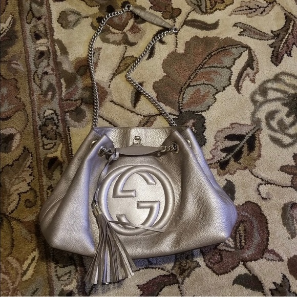 Gucci Handbags - Gucci Soho Large gold beige bag with chain